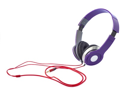 Purple headphones isolated on a white background Stock Photo