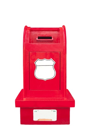 Woodden stand mail box isolate photo