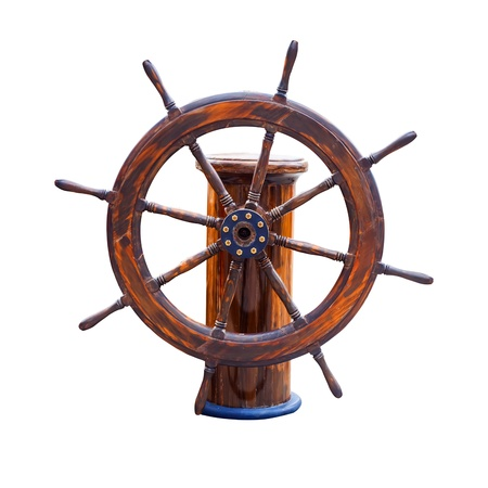 Steering wheel of the ship isolated