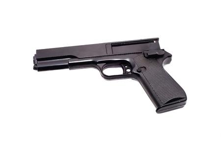 白で隔離黒銃エアガン 写真素材