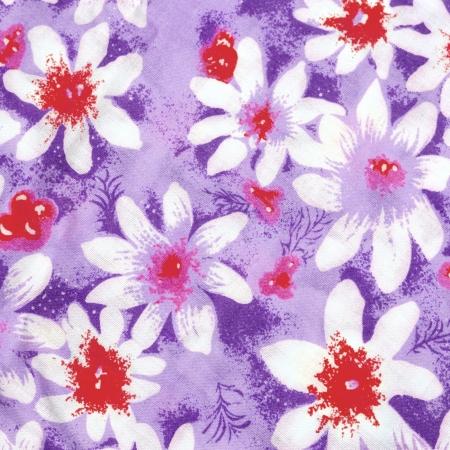 Flower paint on cotton fabric