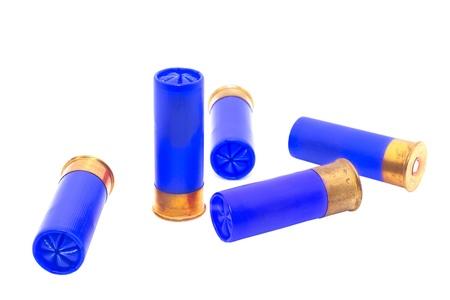 Blue shotgun shell that has been fired Stock Photo