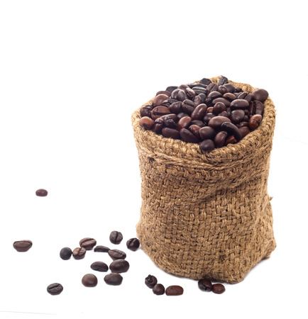 Coffee beans in Hemp sack bag photo