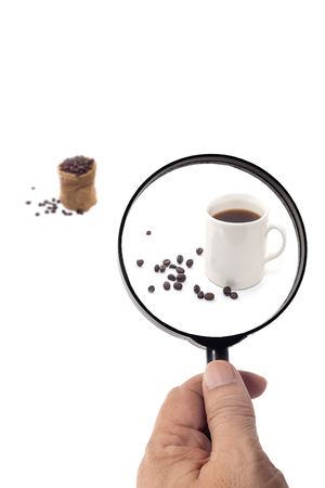 magnifying glass can see inside on white background photo