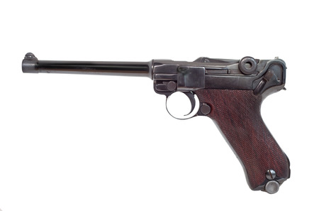 A German Pistole Parabellum 1908 Luger P08 pistol with the safety catch on