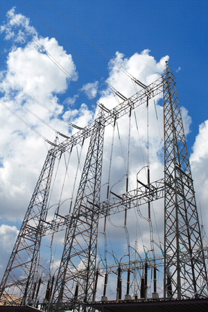 Electricity post,A high voltage post High voltage tower and sky background