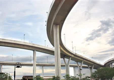 super highway bridge show construction and curve road