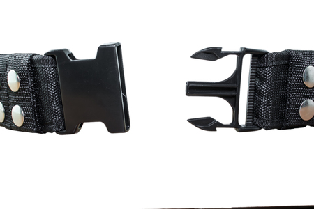 buckles: opened and closed plastic safety buckles Stock Photo