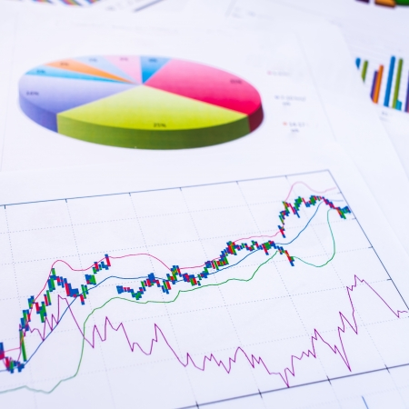 Graphs, charts, business table. The workplace of business