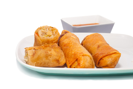 Fried Chinese traditional spring rolls food with sweet chili dip sauce  Stock Photo