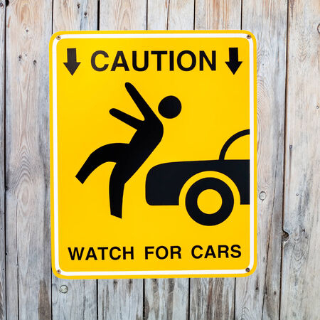 Pedestrian sign - Caution, watch for cars