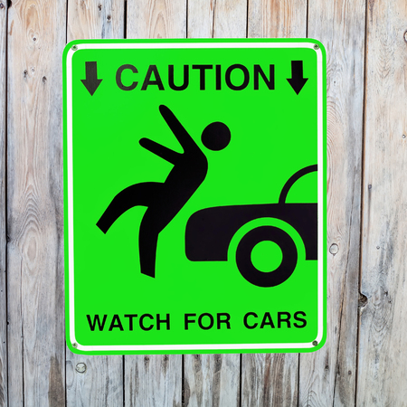 Pedestrian sign - Caution, watch for cars photo