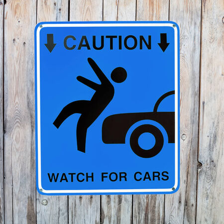 Pedestrian sign - Caution, watch for cars Stock Photo - 25531549