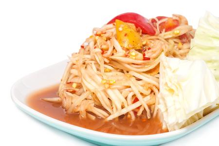 spicy thai food called papaya salad or Som Tam