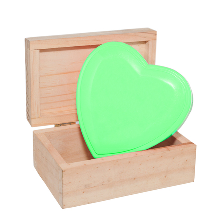 heart box, a wood box contains green heart shape decoration