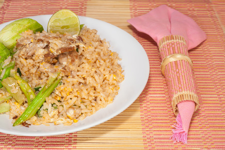 fire rice with thai style on the table