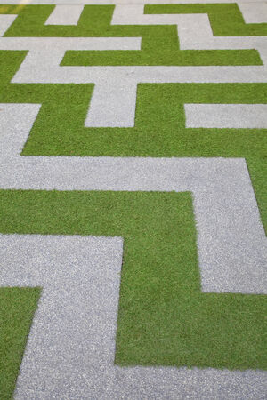 The walk way with artificial grass