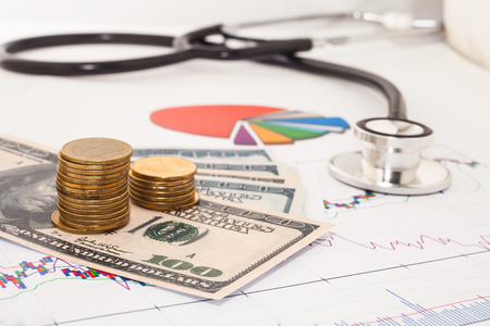 Stethoscope and dollars for healthcare 版權商用圖片