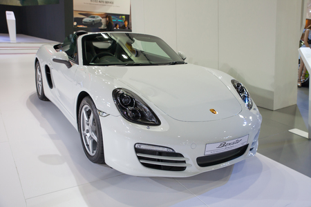 NONTHABURI - March 26  Porsche Boxster display on stage at The 35th Bangkok International Motor Show on March 26, 2014 in Nonthaburi, Thailand