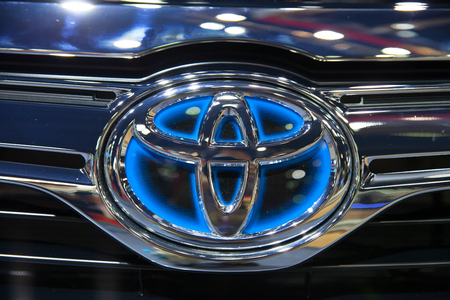 NONTHABURI - MARCH 26: Logo of TOYOTA car on display at The 35th Bangkok International Motor Show on March 26, 2014 in  Nonthaburi, Thailand.  Editorial