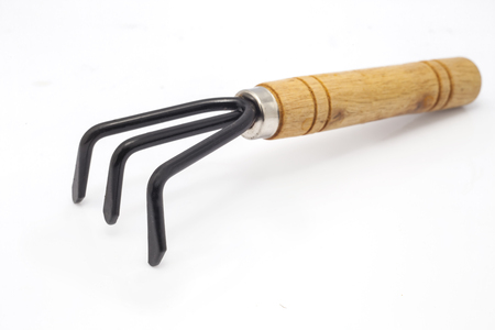 Gardening tools, rake on isolate