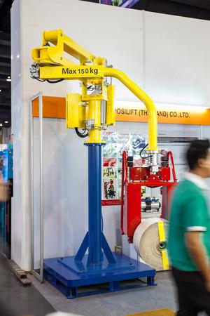 BANGKOK - JUNE 22 :Equipment   lifting of box at Manufacturing  Expo 2014 on June 22,2014 ,Bangkok, Thailand.