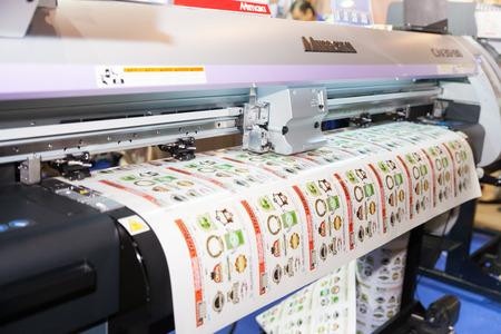 sourcing: BANGKOK - JUNE 28  Professional printing machine at Garment Manufacturers Sourcing 2014 on June 28,2014 in BITEC ,Bangkok, Thailand