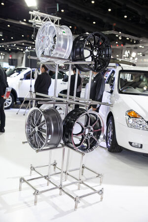 BANGKOK - AUGUST 16 :Magneto wheels on display at Big Motor Sale 2014 on  Aug 16,2014 in BITEC ,Bangkok, Thailand.