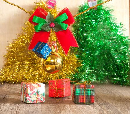 carboard box: Christmas Box  and ribbon