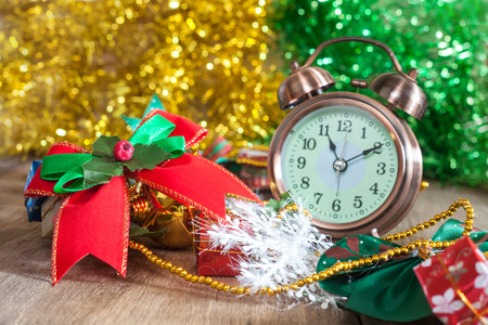 carboard box: Christmas Box ,ribbon and alarm clock