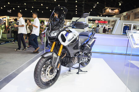 scrambler: NONTHABURI - DESEMBER 4 :YAMAHA SUPER TENERE on display at MOTOR EXPO 2014 on Dec 4,2014 in Nonthaburi, Thailand. Editorial