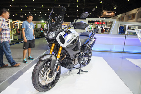 scrambler: NONTHABURI - DESEMBER 4 :YAMAHA SUPER TENERE on display at MOTOR EXPO 2014 on Dec 4,2014 in Nonthaburi, Thailand. Editorial