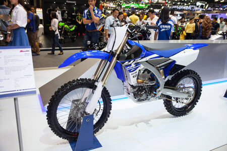 scrambler: NONTHABURI - DESEMBER 4 :YAMAHA YZ 450 motorcycle on display at MOTOR EXPO 2014 on Dec 4,2014 in Nonthaburi, Thailand.