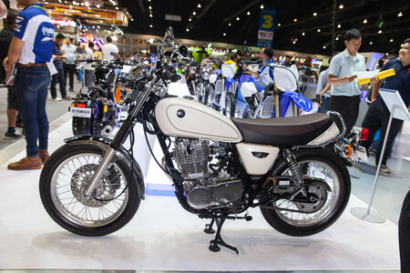 scrambler: NONTHABURI - DESEMBER 4 :YAMAHA SR motorcycle on display at MOTOR EXPO 2014 on Dec 4,2014 in Nonthaburi, Thailand. Editorial