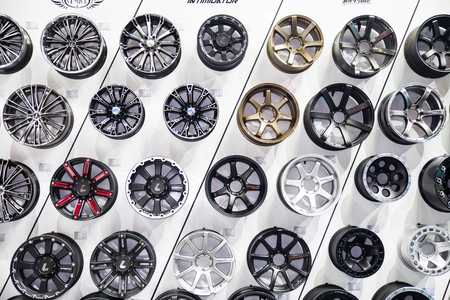 aftermarket: NONTHABURI - DESEMBER 4 :Alloy wheels by LENSO on display at MOTOR EXPO 2014 on Dec 4,2014 in Nonthaburi, Thailand.