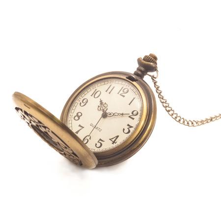 古い汚れたポケット時計白で隔離