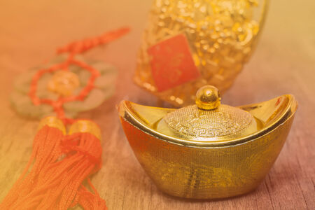 ingots: Chinese New Year Ornament--Gold ingots on gold color theme