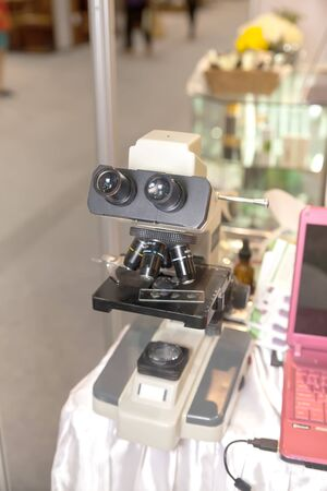 BANGKOK ,THAILAND - JANUARY 31: Microscope at Beauty lab test booth in Made in Thailand in Focus 2015, on January 31, 2015 in Bangkok, Thailand.