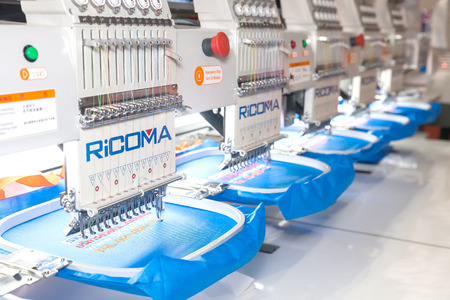 BANGKOK ,THAILAND - FEBRUARY 7: A sewing group specialising in cross  stitch, embroidery At THAILAND Industrial Fair 2015 And Food Pack Asia 2015  on February 7, 2015 in Bangkok, Thailand. Publikacyjne