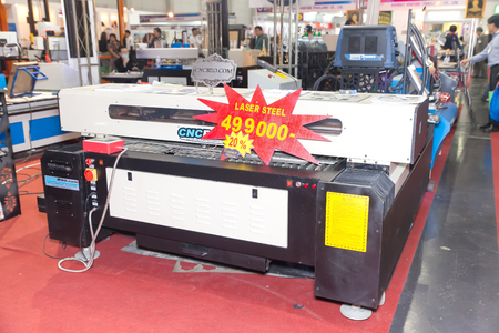 BANGKOK ,THAILAND - FEBRUARY 7: CNC laser steel machine at THAILAND  Industrial Fair 2015 And Food Pack Asia 2015 on February 7, 2015 in  Bangkok, Thailand.
