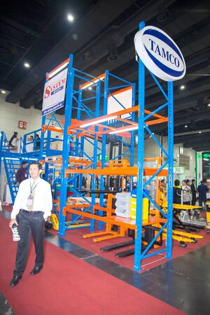shelving: BANGKOK ,THAILAND - FEBRUARY 7:High rack shelving  system at THAILAND Industrial Fair 2015 And Food  Pack Asia 2015 on February 7, 2015 in Bangkok,  Thailand. Editorial