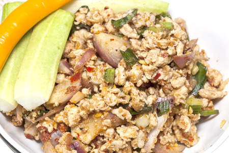 isaan: Spicy Chicken  (Larb Chicken salad)Traditional Thai food Stock Photo