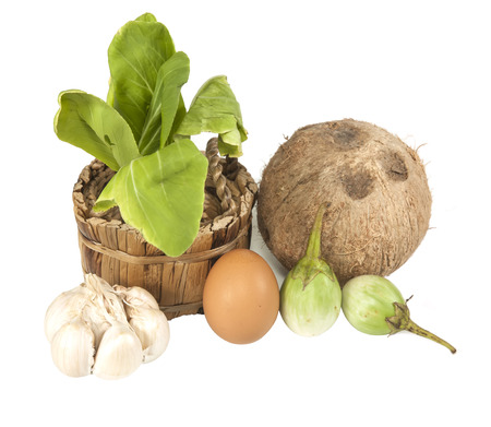 bok choy: Organic Bok Choy and fresh food  on white background