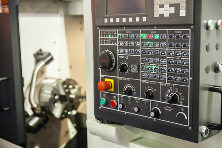 mechanician: BANGKOK ,THAILAND - MAY 16: CNC Controller machines display at Intermach-Subcon Thailand 2015, on MAY 16, 2015 in Bangkok, Thailand.