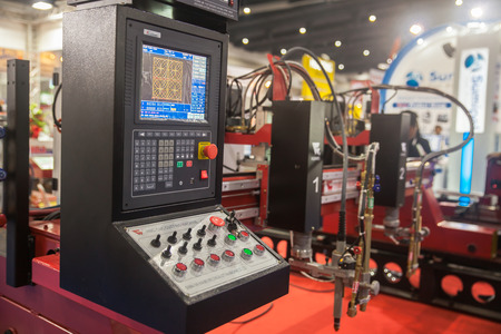 mechanician: BANGKOK ,THAILAND - MAY 16:  Controller machines display at Intermach-Subcon Thailand 2015, on MAY 16, 2015 in Bangkok, Thailand.
