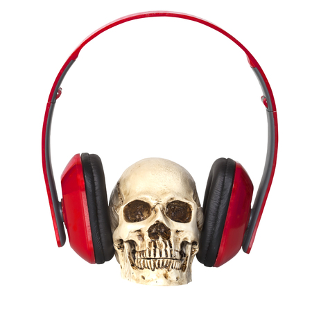detestable: Human skull with headphones isolated Stock Photo
