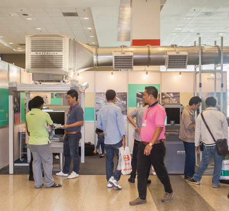 air duct: BANGKOK ,THAILAND - JUNE 20: Unidentified people interresting with  air duct in PROPAK ASIA 2015, on JUNE 20, 2015 in Bangkok,  Thailand.