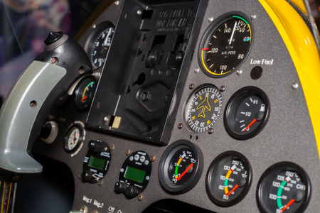 disembark: BANGKOK ,THAILAND - JULY 18: Controler and gauge in helicopter at Engineering Expo 2015 , on JULY 18, 2015 in Bangkok, Thailand.