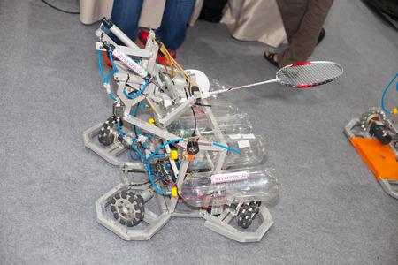prototype: BANGKOK ,THAILAND - JULY 18: Prototype robot badminton hitter in  Engineering Expo 2015 , on JULY 18, 2015 in Bangkok, Thailand. Editorial