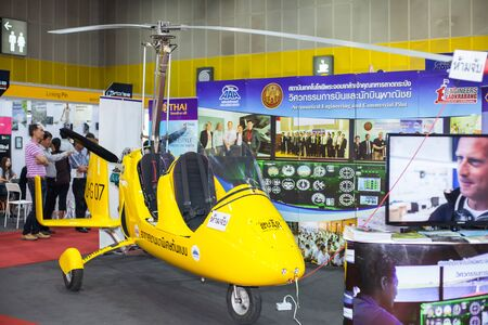 disembark: BANGKOK ,THAILAND - JULY 18: Small helicopter in Engineering Expo 2015 , on JULY 18, 2015 in Bangkok, Thailand.